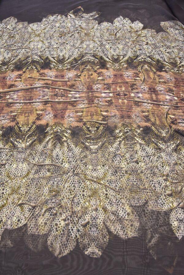 Шифон коричневый фон осенние цветы кайма (1465) - Фото 7