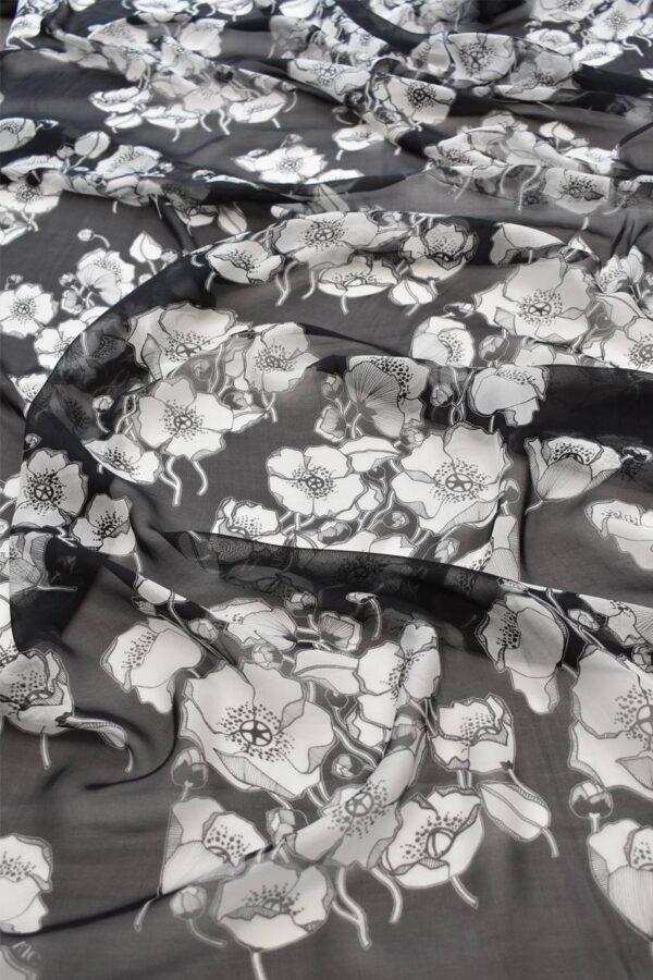 Шифон шелк черный фон белые маки (1485) - Фото 6