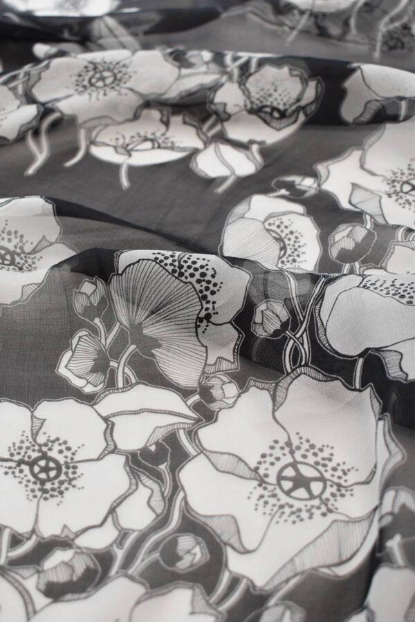 Шифон шелк черный фон белые маки (1485) - Фото 9