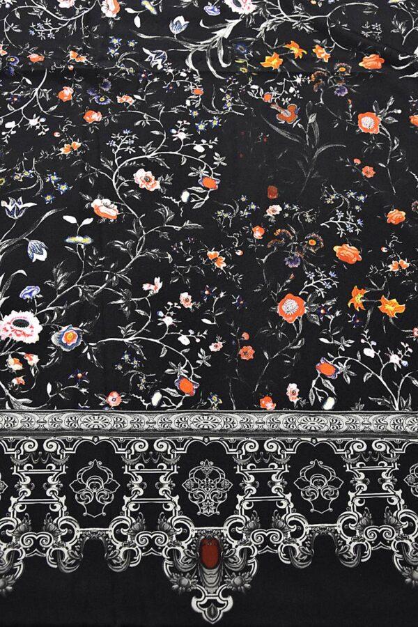 Крепдешин купон шелк стрейч бордюр мелкий  цветочек (1495) - Фото 6