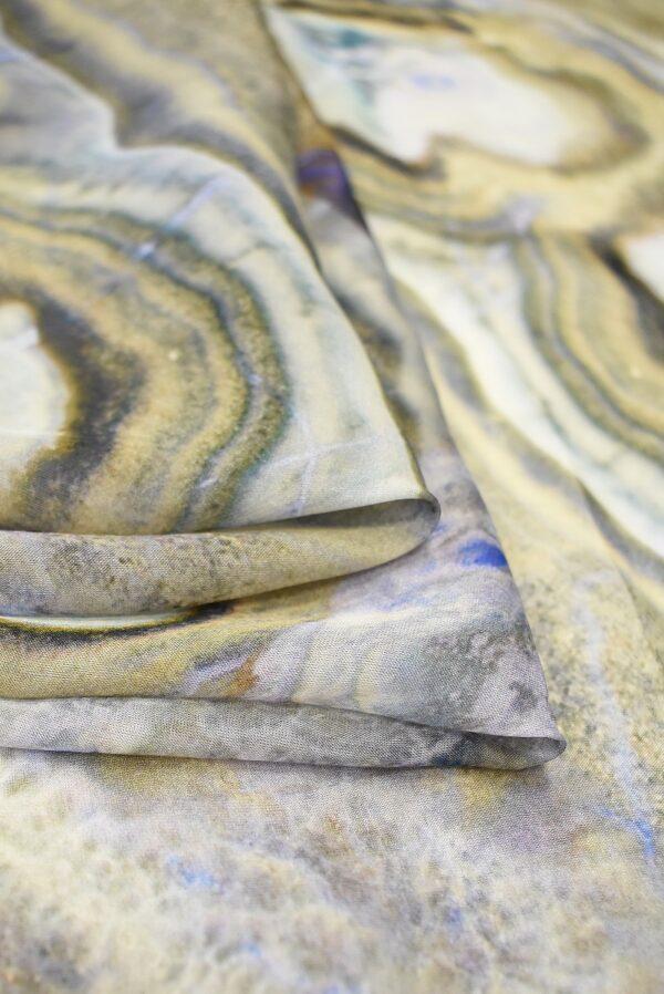 Шифон шелк малахит в бежевых тонах (1504) - Фото 7