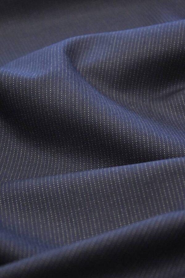 Костюмная шерсть с кашемиром синяя в полоску (1549) - Фото 6