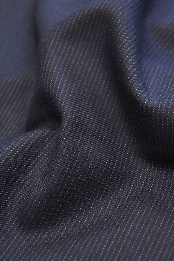 Костюмная шерсть с кашемиром синяя в полоску (1549) - Фото 8
