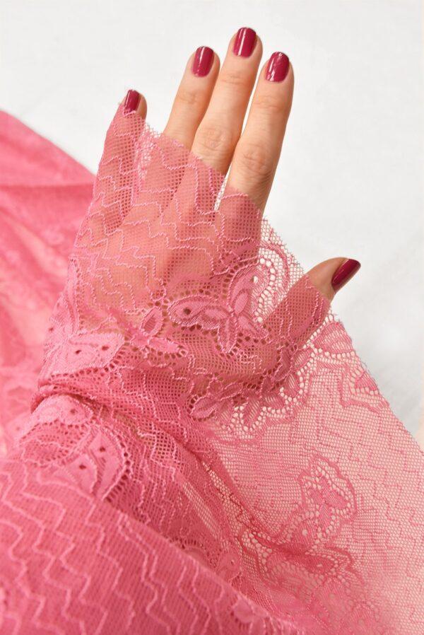 Гипюр стрейч узор из бабочек яркий розовый (1821) - Фото 10
