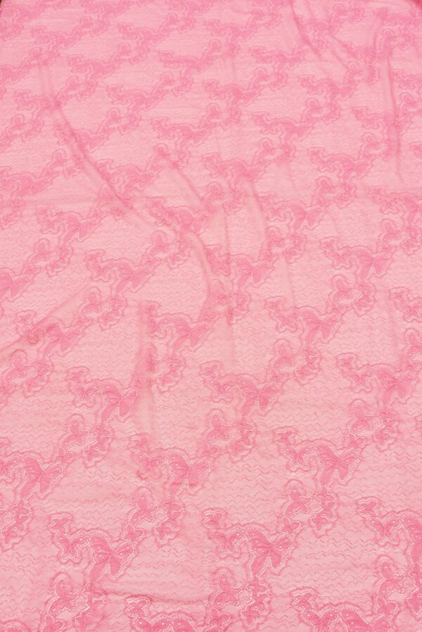 Гипюр стрейч узор из бабочек яркий розовый (1821) - Фото 6