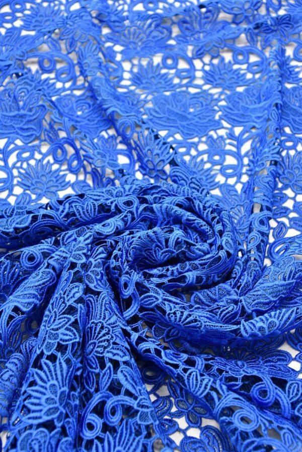Кружево макраме синий электрик с цветами (1958) - Фото 8