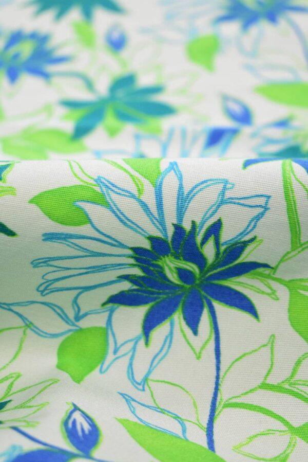 Хлопок стрейч зеленые синие цветы (1974) - Фото 8