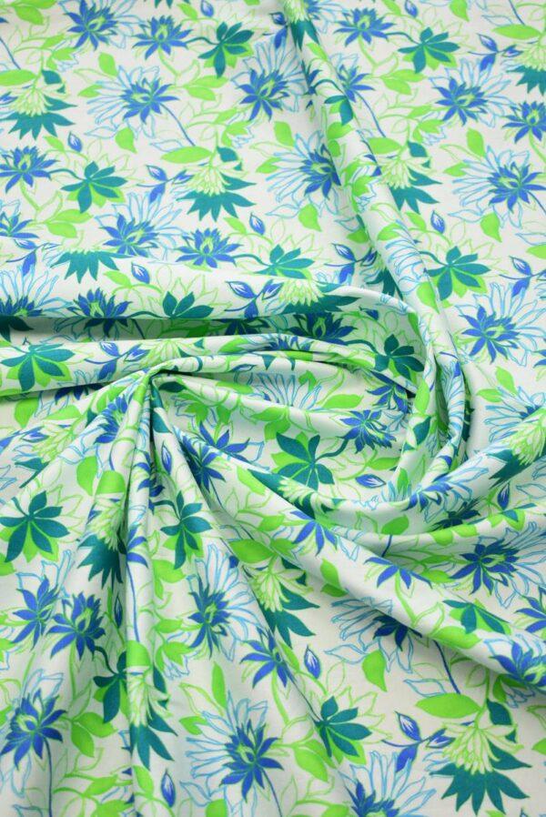 Хлопок стрейч зеленые синие цветы (1974) - Фото 10