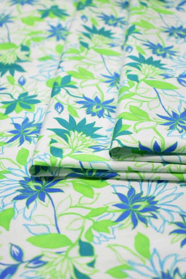 Хлопок стрейч зеленые синие цветы (1974) - Фото 9