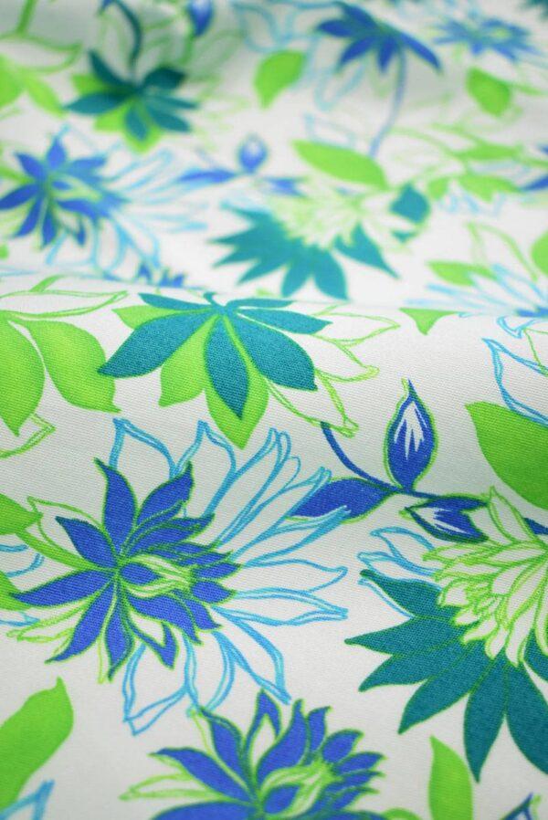 Хлопок стрейч зеленые синие цветы (1974) - Фото 7