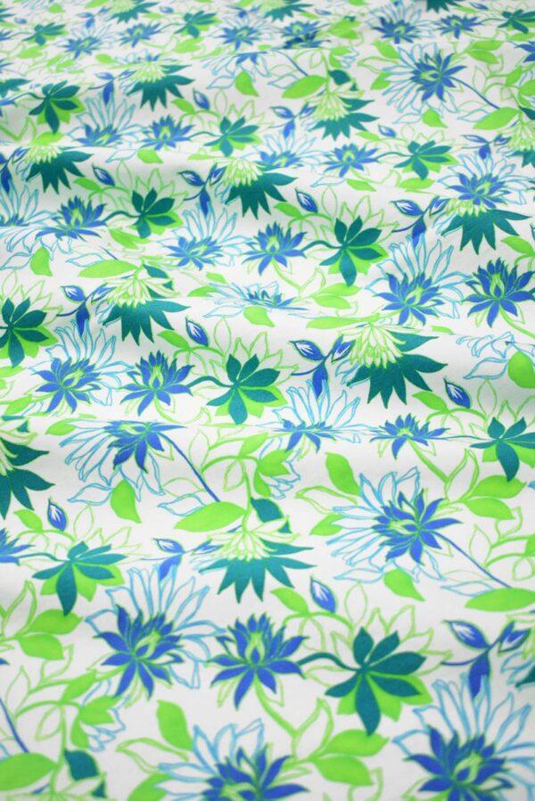 Хлопок стрейч зеленые синие цветы (1974) - Фото 6