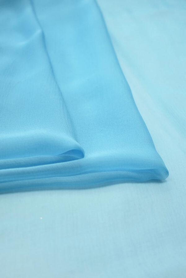 Шифон креш ярко-голубой шелковый (2025) - Фото 7