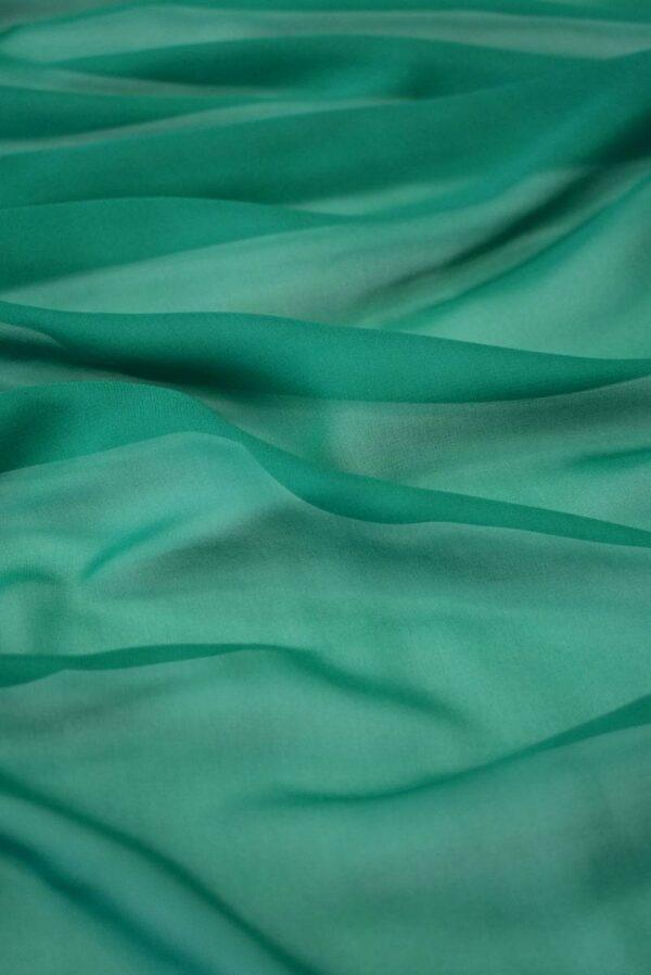 Шифон шелк зеленый нефрит (2028) - Фото 6