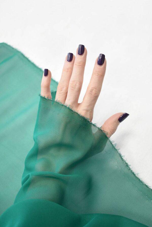 Шифон шелк зеленый нефрит (2028) - Фото 9