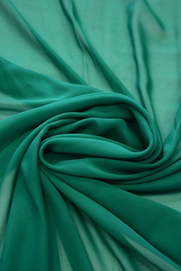 Шифон шелк зеленый нефрит (2028) - Фото 8