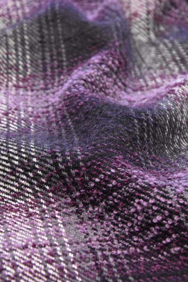 Твид букле шерсть клетка фиолетовый (2672) - Фото 7