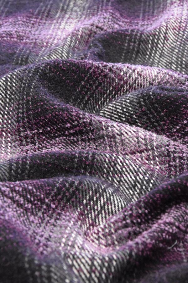 Твид букле шерсть клетка фиолетовый (2672) - Фото 9