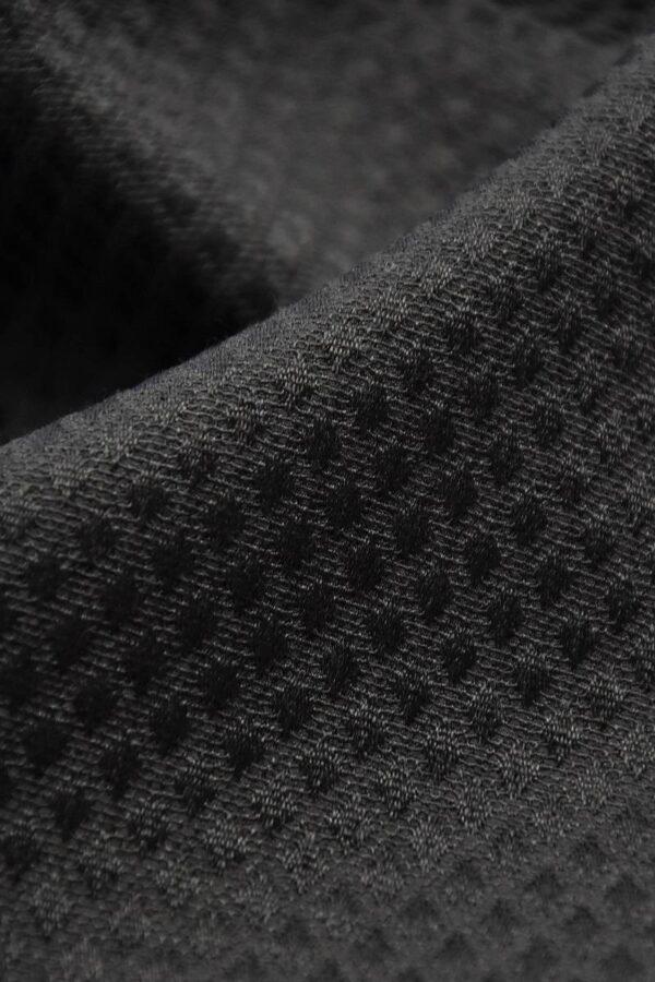 Пике стрейч черный фактура в мелкий ромб (3917) - Фото 8