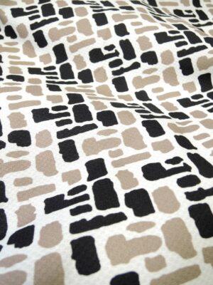 Хлопок пике стрейч абстрактная геометрия черная с белым (3944) - Фото 14