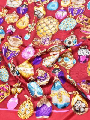 Платок шелк ювелирные украшения Фаберже  на вишневом (4044) - Фото 14