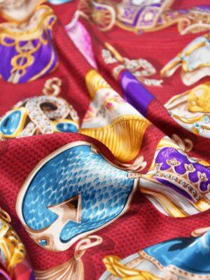 Платок шелк ювелирные украшения Фаберже  на вишневом (4044) - Фото 15