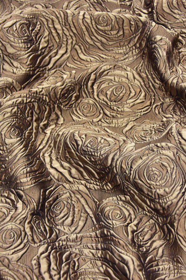 Жаккард 3Д коричневый цветы (4469) - Фото 6