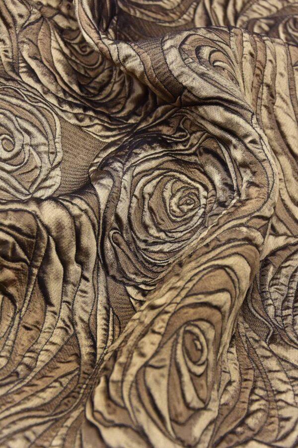 Жаккард 3Д коричневый цветы (4469) - Фото 7