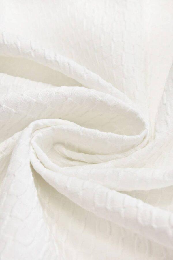 Пике хлопок стрейч фактурный белый (4510) - Фото 8