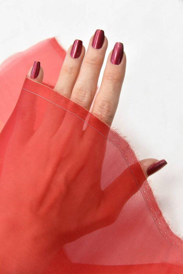 Органза шелковая красная (4543) - Фото 10