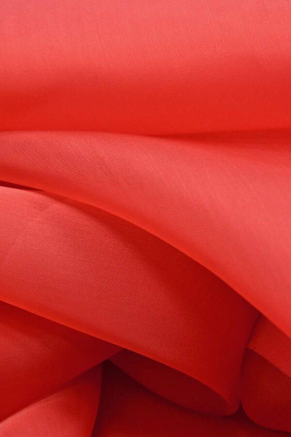 Органза шелковая красная (4543) - Фото 8