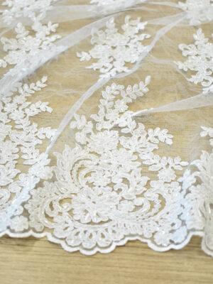 Кружево сутажное белое с цветами бисер стеклярус фестоны (4563) - Фото 13