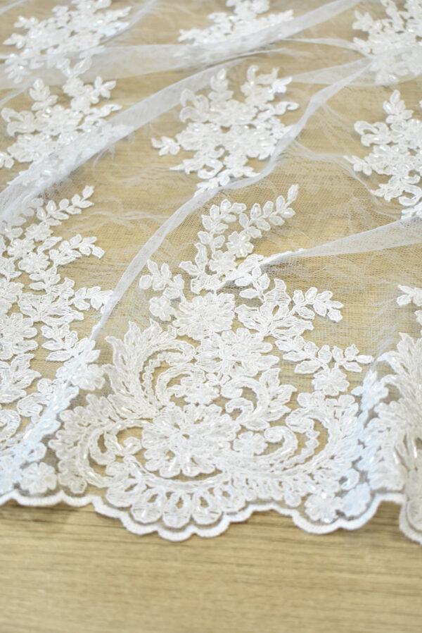 Кружево сутажное белое с цветами бисер стеклярус фестоны (4563) - Фото 7