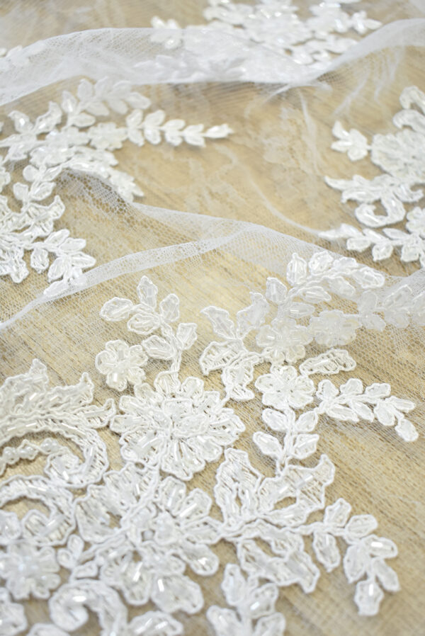 Кружево сутажное белое с цветами бисер стеклярус фестоны (4563) - Фото 11