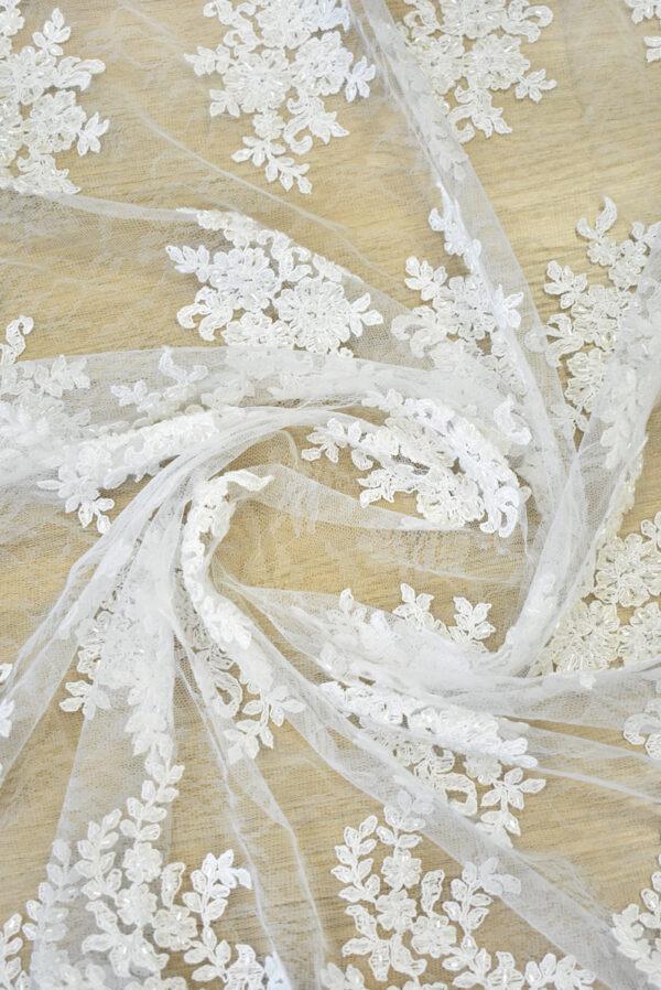 Кружево сутажное белое с цветами бисер стеклярус фестоны (4563) - Фото 8