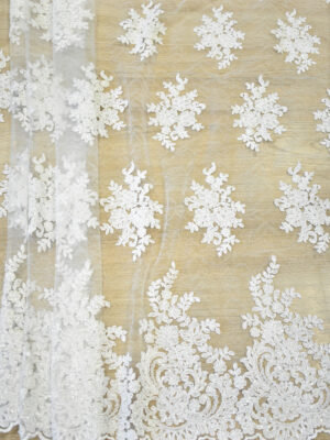Кружево сутажное белое с цветами бисер стеклярус фестоны (4563) - Фото 12