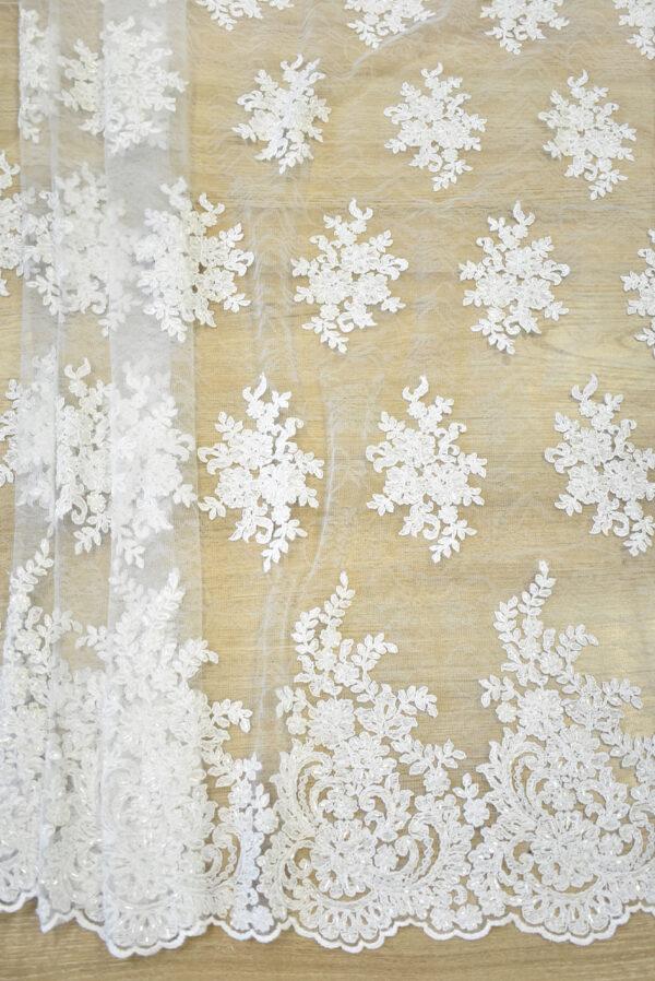 Кружево сутажное белое с цветами бисер стеклярус фестоны (4563) - Фото 6