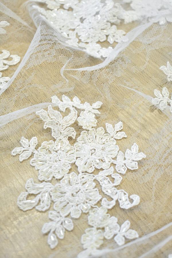Кружево сутажное белое с цветами бисер стеклярус фестоны (4563) - Фото 9