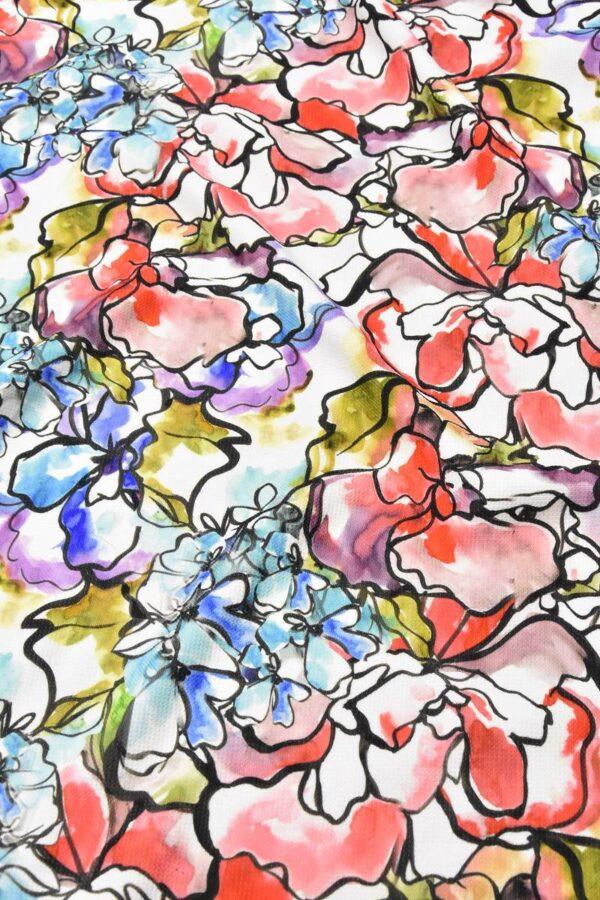 Пике акварельные цветы на белом (4570) - Фото 6
