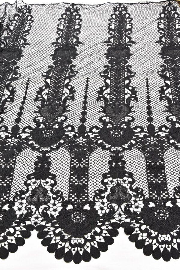 Кружево макраме узор из цветов и сердечек черное (4592) - Фото 6