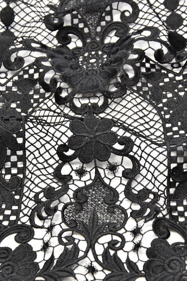 Кружево макраме узор из цветов и сердечек черное (4592) - Фото 7