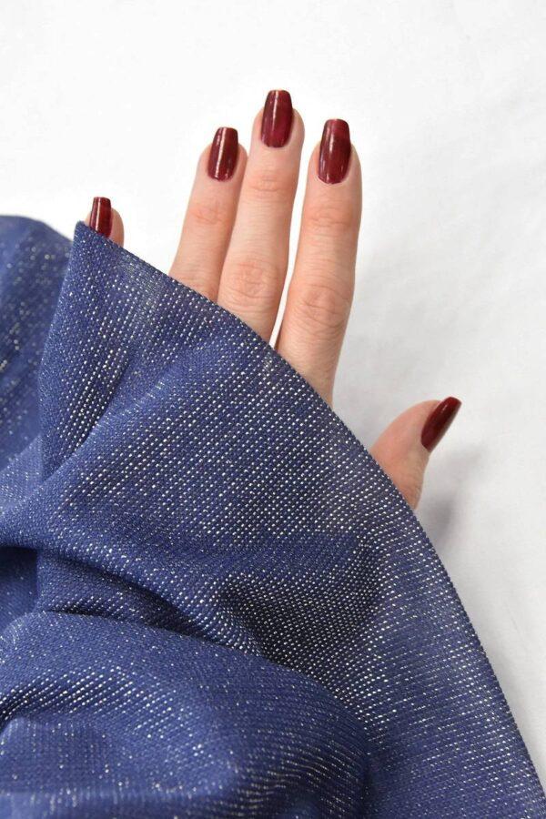Трикотаж сетка серо-голубой серебряный люрекс (4682) - Фото 9