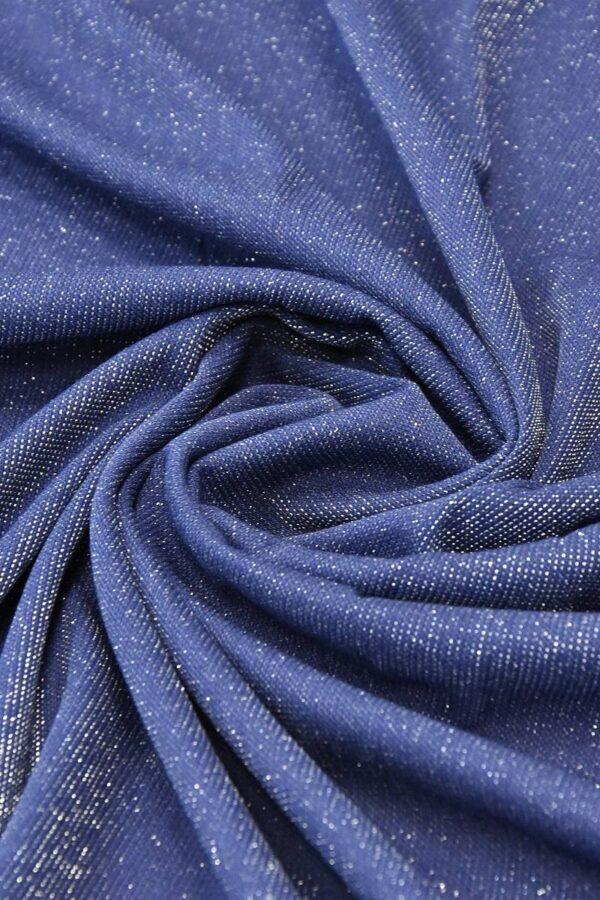 Трикотаж сетка серо-голубой серебряный люрекс (4682) - Фото 7