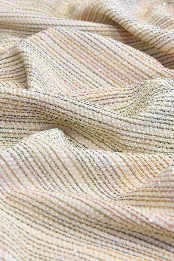 Твид в полоску светлый беж расшит пайетками (4753) - Фото 6