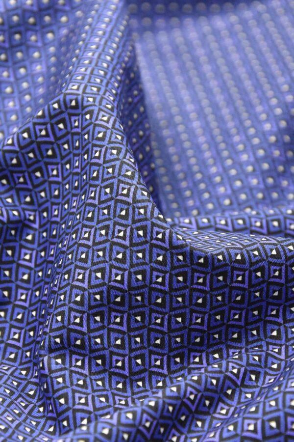 Хлопок рубашечный cиние с белым ромбы (4773) - Фото 7
