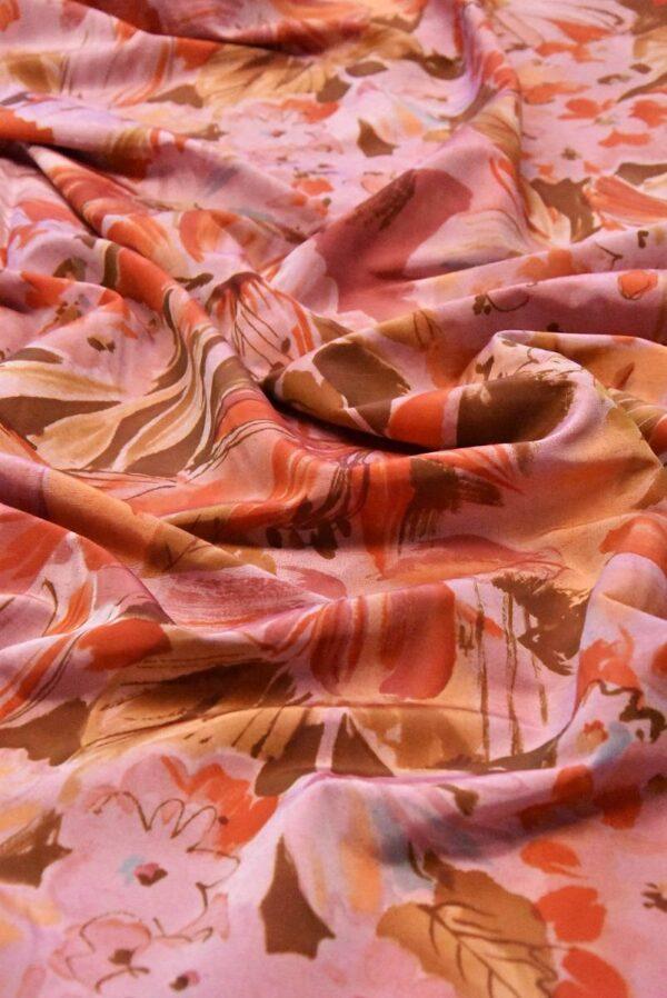 Хлопок коралловые цветы на розовом (4799) - Фото 11