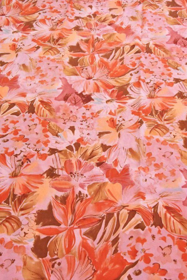 Хлопок коралловые цветы на розовом (4799) - Фото 6