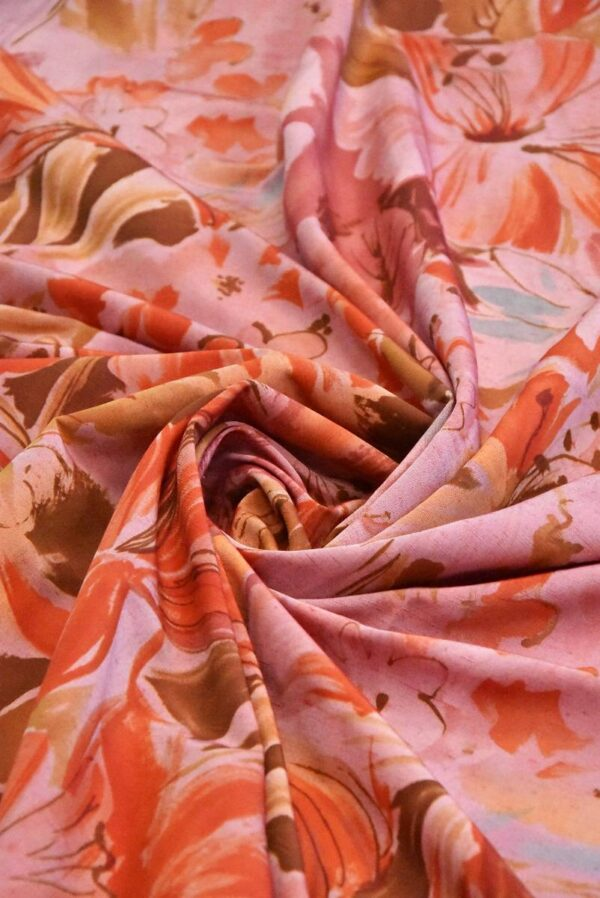 Хлопок коралловые цветы на розовом (4799) - Фото 9