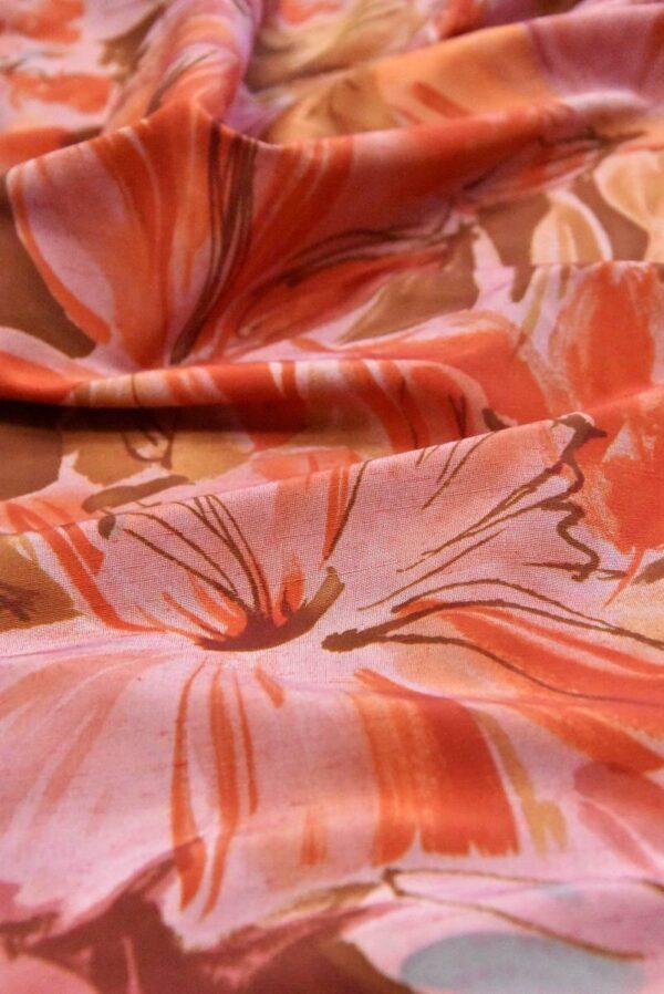 Хлопок коралловые цветы на розовом (4799) - Фото 7