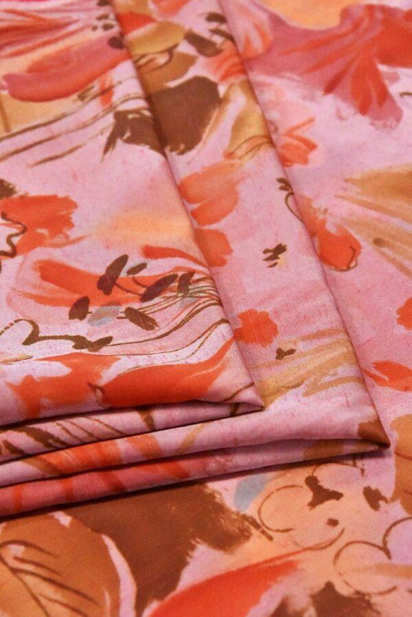 Хлопок коралловые цветы на розовом (4799) - Фото 8