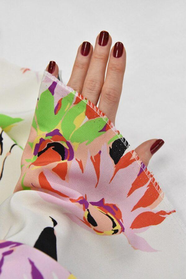 Крепдешин шелк коралловые цветы на белом (4812) - Фото 9
